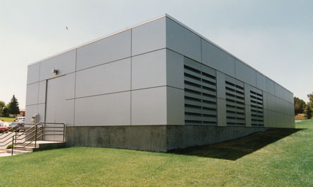 Aluminum panels match new building